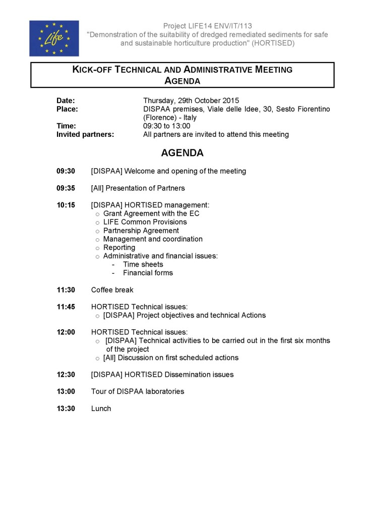 LIFE HORTISED_Kick off meeting_29 10 2015_Agenda